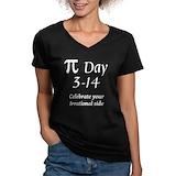 Pi Womens V-Neck T-shirts (Dark)