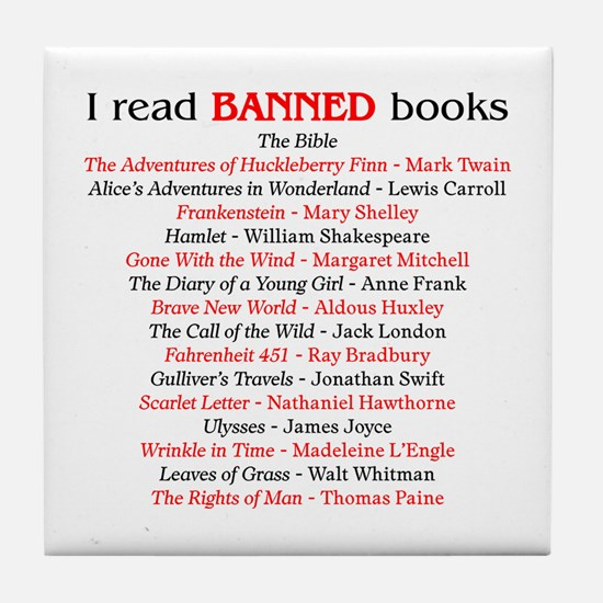 Cute Book banning Tile Coaster