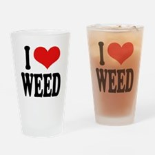 I Love Weed Drinking Glass