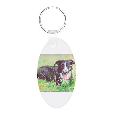 Faithful Farm dog Aluminum Oval Keychain