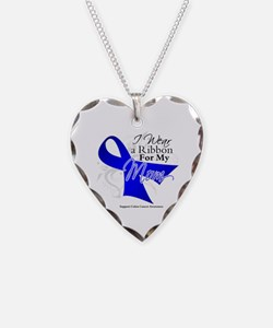Mom Colon Cancer Necklace Heart Charm