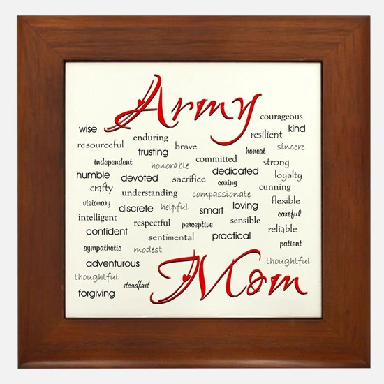 Army Mom poem in words Framed Tile