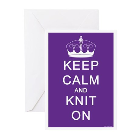 Keep Calm and Knit On Greeting Cards (Pk of 10)