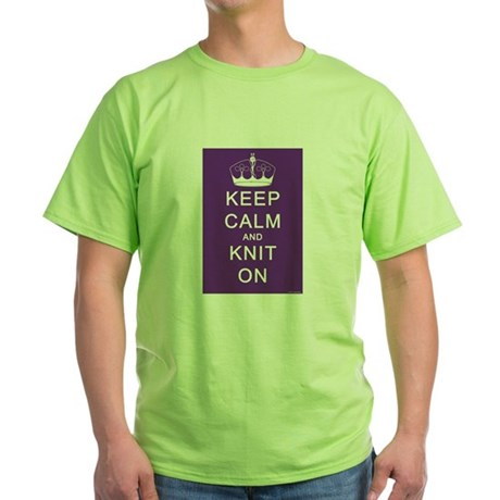Keep Calm and Knit On Green T-Shirt