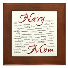 Navy Mom Poem of words Framed Tile