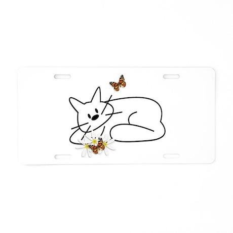 Doodle Cat Aluminum License Plate