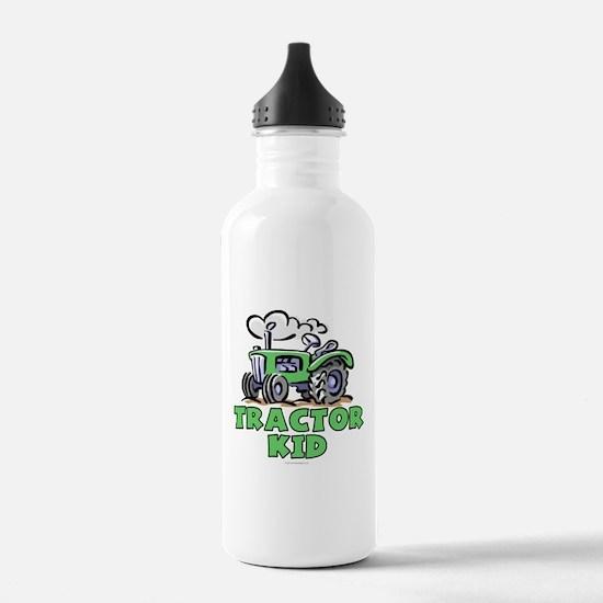 Green Tractor Kid Water Bottle