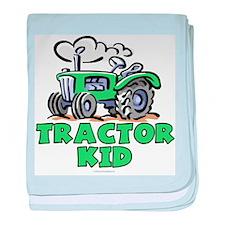 Green Tractor Kid baby blanket