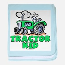 Green Tractor Kid baby blanket