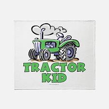 Green Tractor Kid Throw Blanket