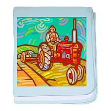 Van Gogh Tractor baby blanket