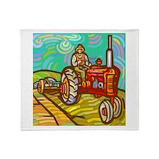 Van Gogh Tractor Throw Blanket