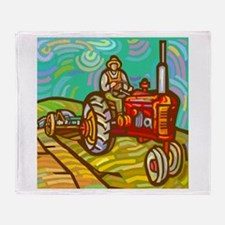 Van Gogh Tractor Throw Blanket