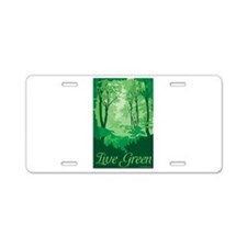 Live Green Aluminum License Plate