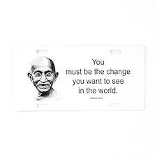 Gandhi - Be the Change Aluminum License Plate