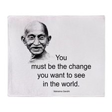 Gandhi - Be the Change Throw Blanket