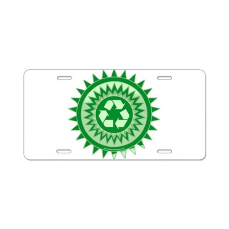 Green Recycle Sign Aluminum License Plate