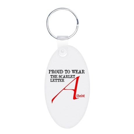 Scarlet Letter Atheist Aluminum Oval Keychain