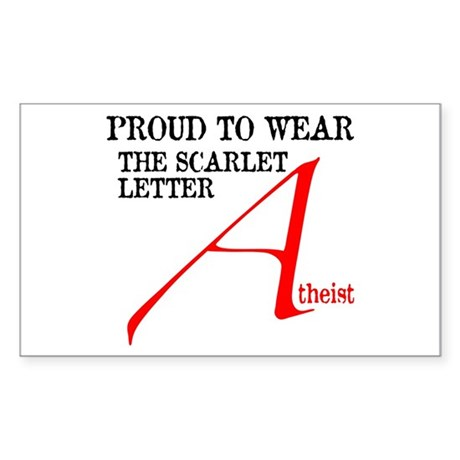 Scarlet Letter Atheist Sticker (Rectangle)