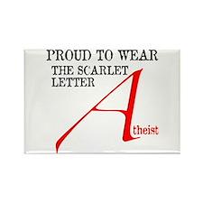 Scarlet Letter Atheist Rectangle Magnet