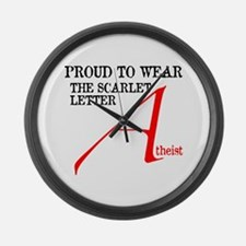 Scarlet Letter Atheist Large Wall Clock