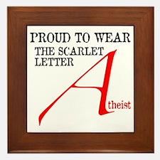 Scarlet Letter Atheist Framed Tile