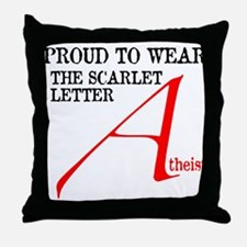Scarlet Letter Atheist Throw Pillow