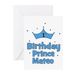 1st Birthday Prince MATEO! Greeting Cards (Pk of 2