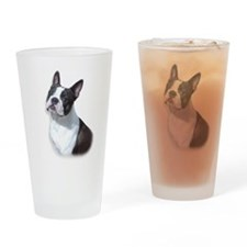 Boston Terrier Head Study Drinking Glass