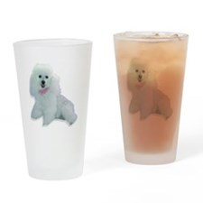 White Poodle Puppy Drinking Glass
