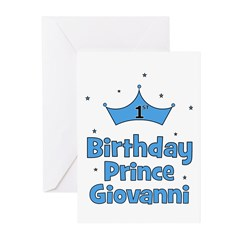 1st Birthday Prince GIOVANNI! Greeting Cards (Pk o