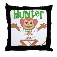 Little Monkey Hunter Throw Pillow