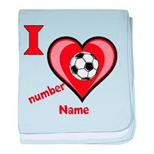 Customizable Soccer Love baby blanket