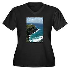 Lighthouse Women's Plus Size V-Neck Dark T-Shirt
