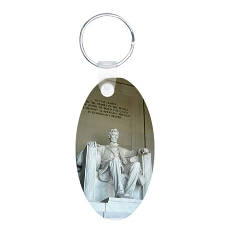 Lincoln Memorial Aluminum Oval Keychain