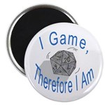 """d20 I Game therfore I am 2.25"""" Magnet (10 pack)"""