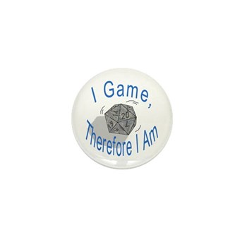 d20 I Game therfore I am Mini Button (100 pack)