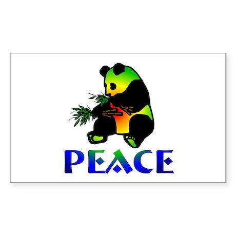 Peace Panda Bear Rectangle Sticker
