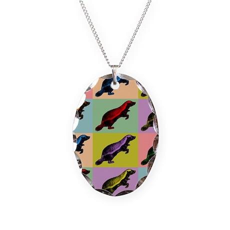 Honey Badger Pop Art Necklace Oval Charm