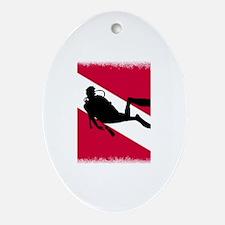 Scuba Diving Flag Ornament (Oval)