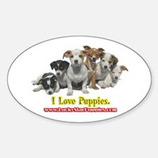 I Love Puppies 1A Oval Decal
