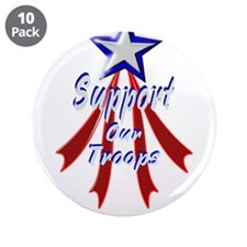 """Support the Troops 3.5"""" Button (10 pack)"""
