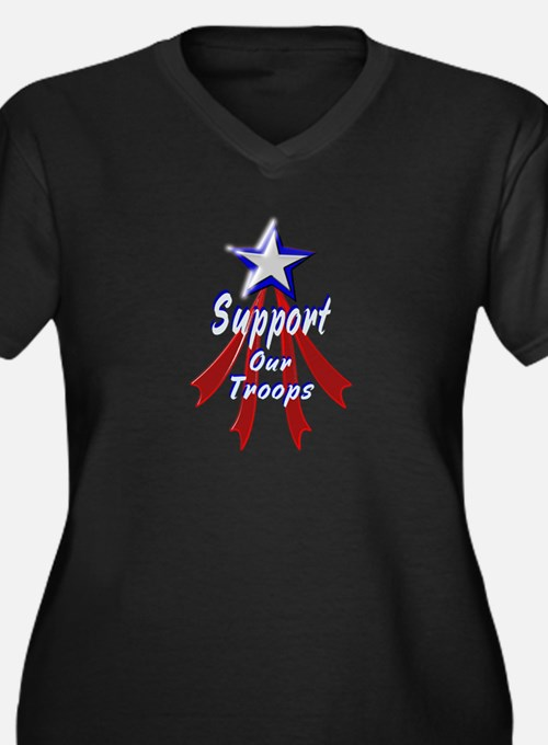 Support the Troops Women's Plus Size V-Neck Dark T