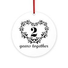 2nd Anniversary Heart Ornament (Round)