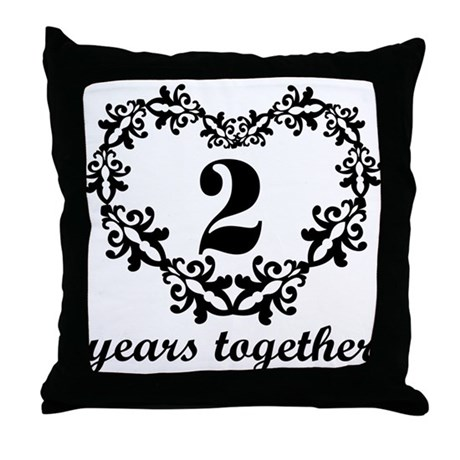 2nd Anniversary Heart Throw Pillow
