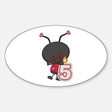5th Birthday Ladybug Sticker (Oval)