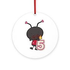5th Birthday Ladybug Ornament (Round)