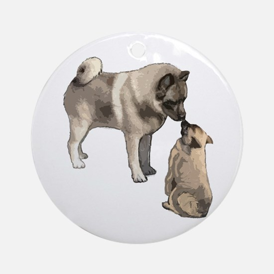 Norwegian Elkhound mother Ornament (Round)