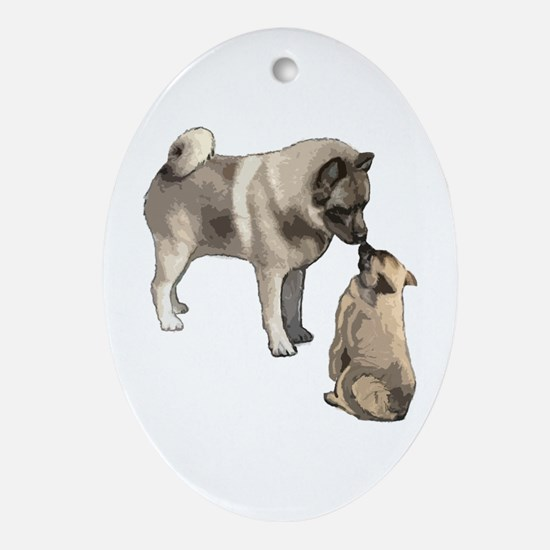 Norwegian Elkhound mother Ornament (Oval)