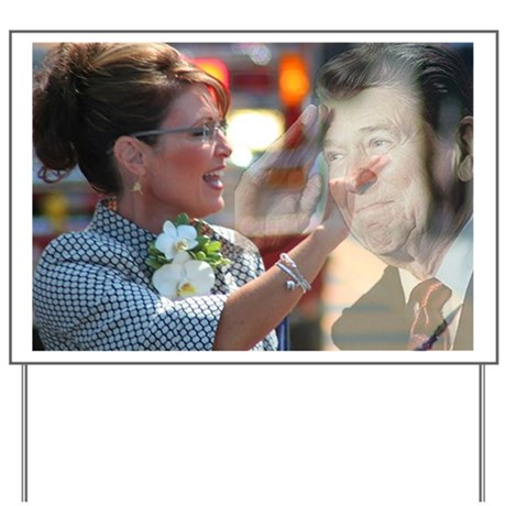 Carrying Reagan's Torch Yard Sign